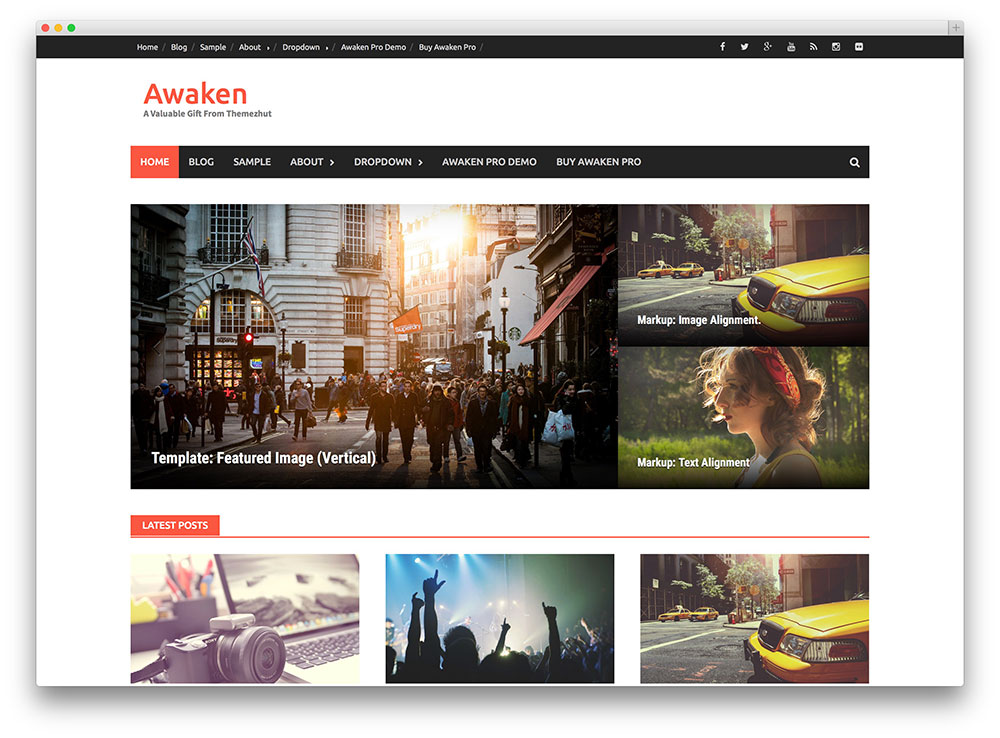 Awaken WordPress theme is an elegant magazine/news WordPress theme.