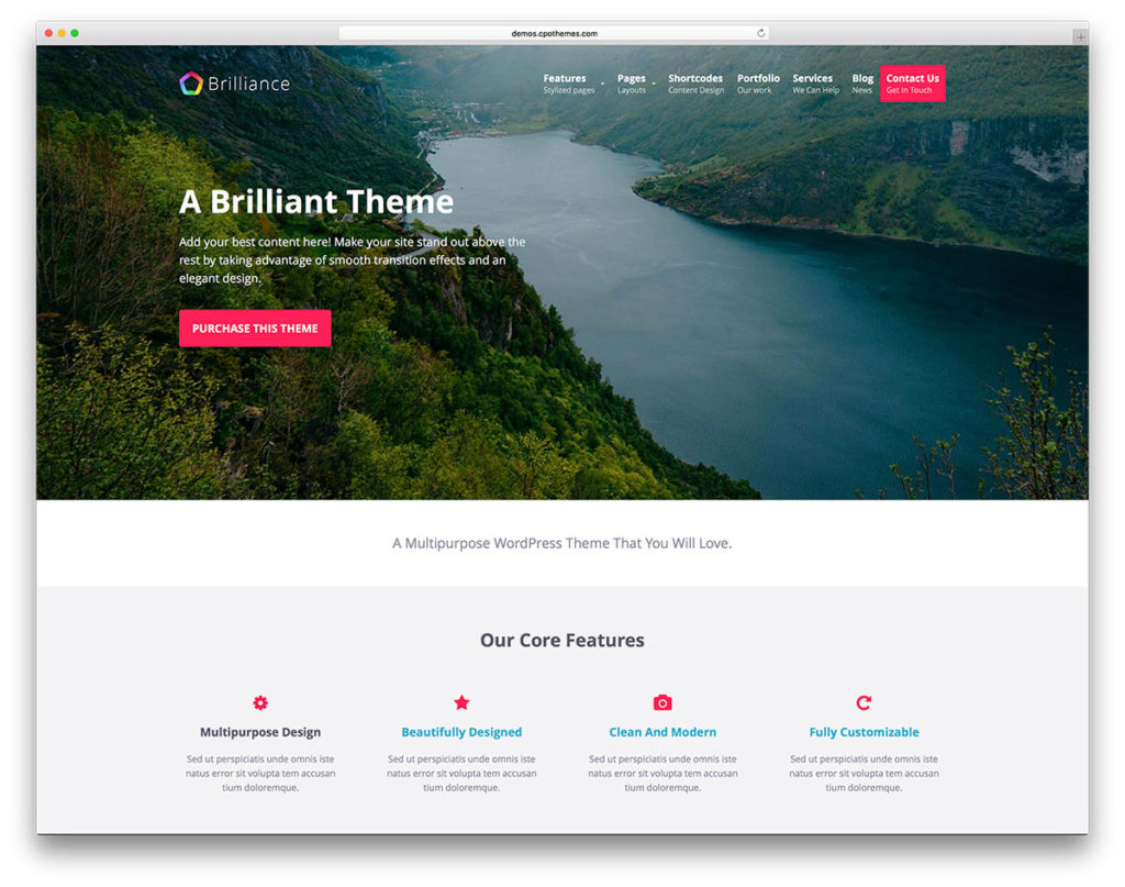 Brilliance is a free multipurpose WordPress theme geared towards agencies and corporate websites.