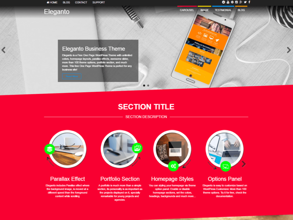 Eleganto is an elegant multipurpose theme for WordPress business / corporate sites.