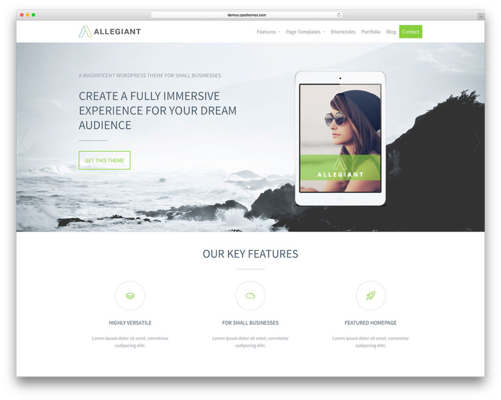 Allegiant is a free multipurpose WordPress theme perfect for agencies and professionals