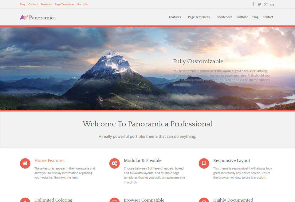 Panoramica is a free portfolio WordPress theme, created with the intent to be visually striking and at the same time be modern & professional.